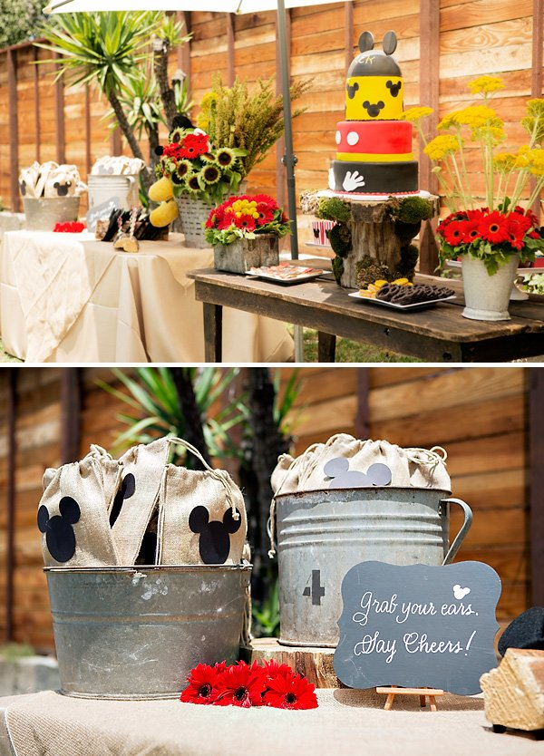 mickey mouse birthday party - rustic red yellow black