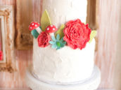 2 tier white cake for a woodland birthday party with red toadstools and flowers