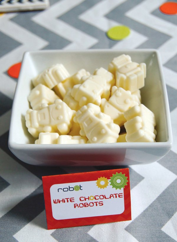 white chocolate robots for a boys birthday party