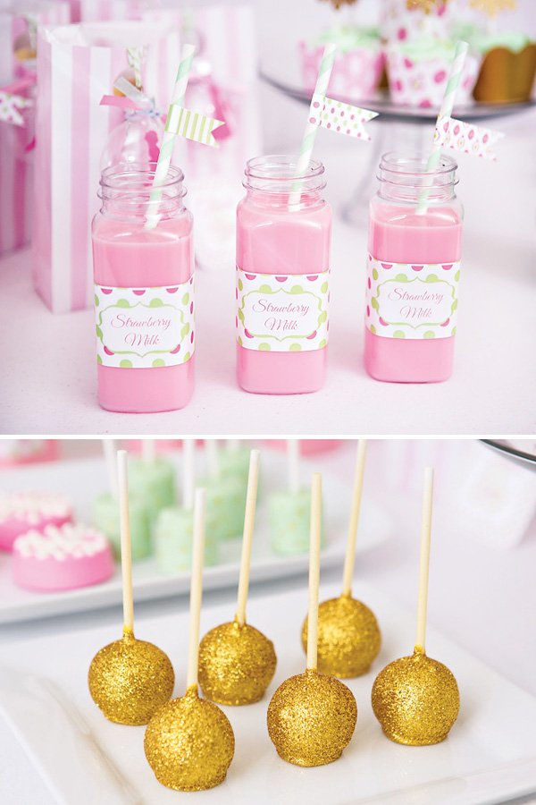 Christmas Sugar Plum Fairy gold glitter cake pops and strawberry pink milk