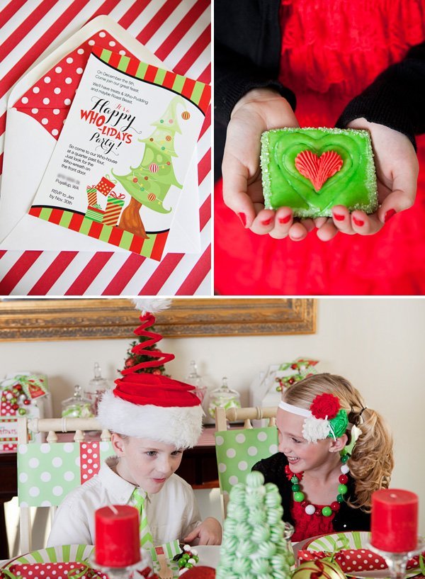 grinch themed christmas party invitation, heart cookie and tablescape