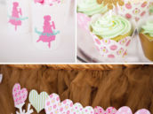 Sugar plum fairy design with heart garland and mint green cupcakes