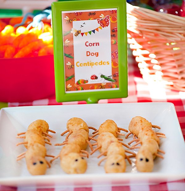 corn dog centipedes for a boy's bug birthday party
