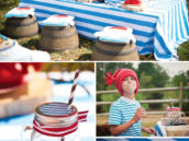 smee table, cookies and costume for a peter pan themed birthday party