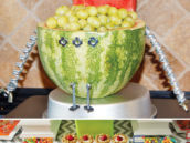 DIY watermelon robot filled with grapes