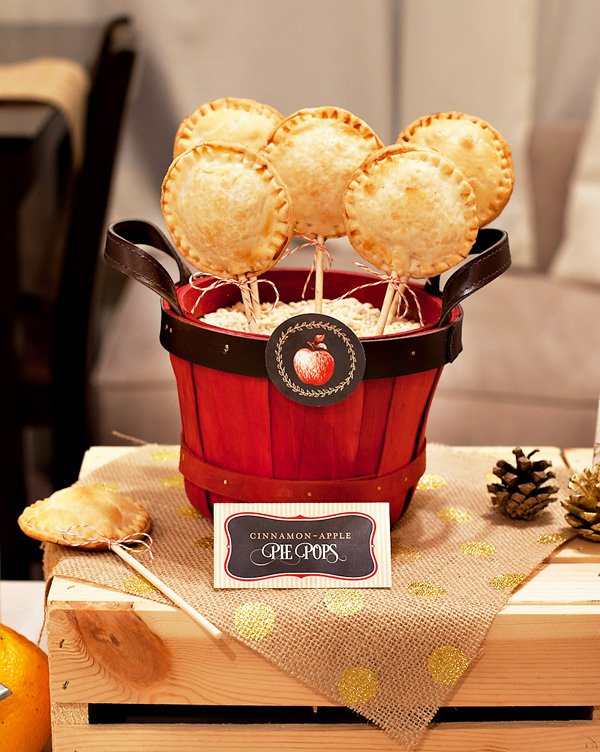 mini apple pie pops in a bucket