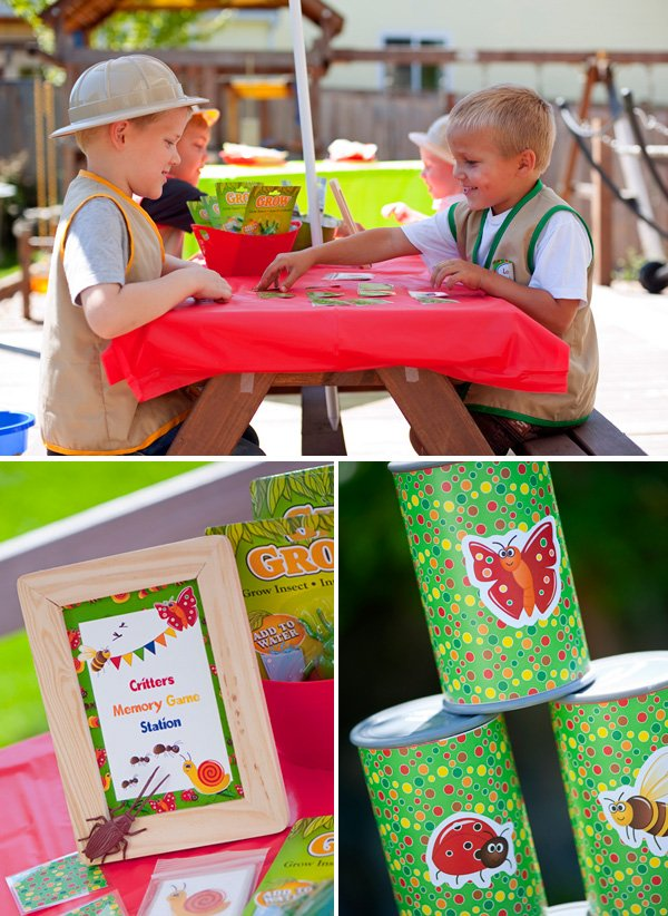 bug birthday party activities like a critter matching memory game