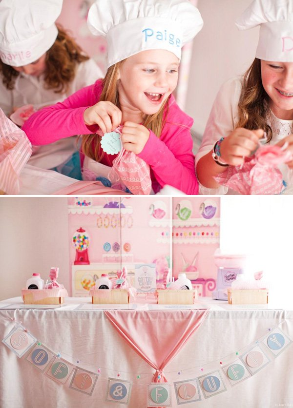 cotton candy birthday party activity and personalized party favors