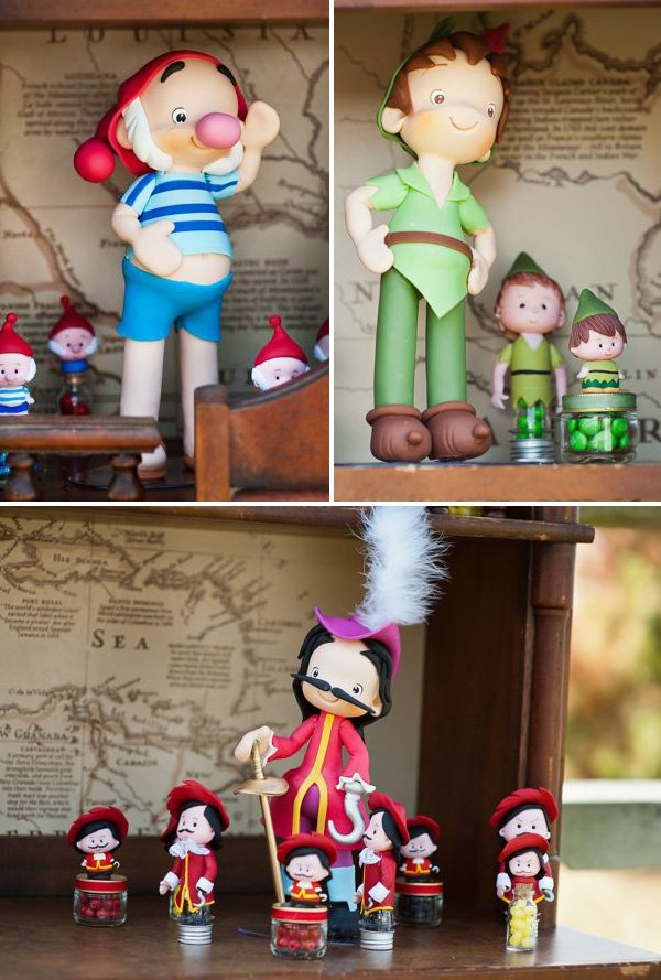 peter pan themed hook and smee fondant characters as party favors