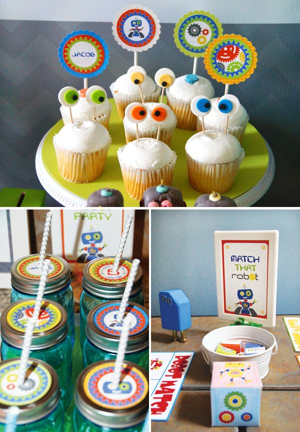 googly eyed robot cupcakes, drinks and matching game
