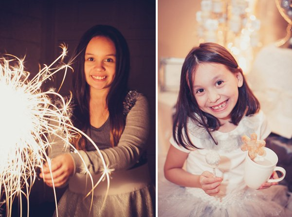 silver white party guests - girls with sparklers and cupcakes
