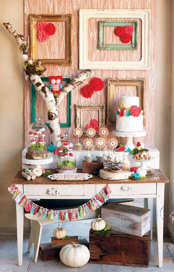 owl woodland birthday party dessert table with red and wooden accents
