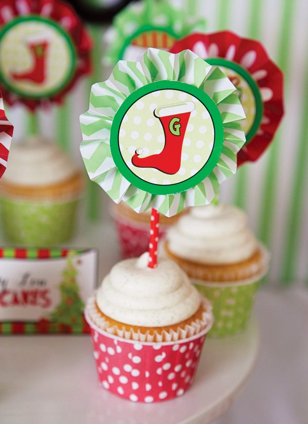red and green christmas printable party circle cupcake topper with a stocking