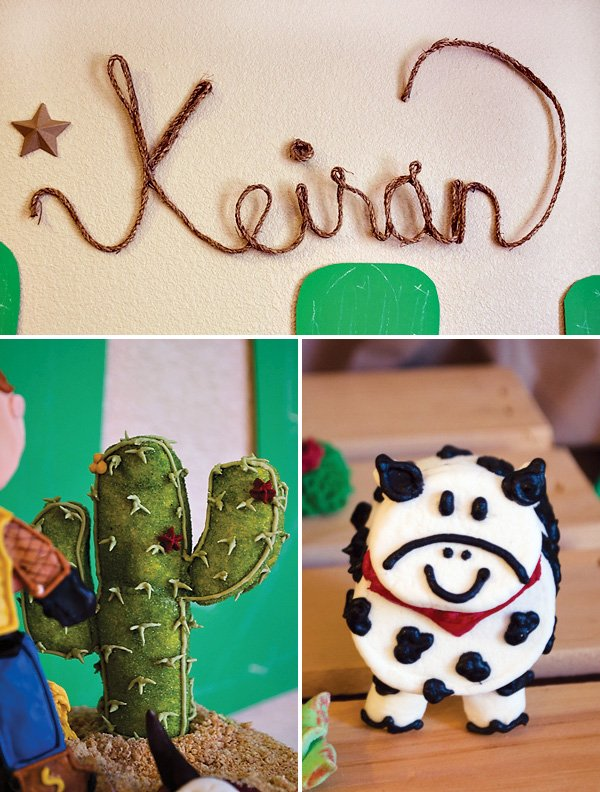 cactus cake topper, marshmallow cow and cowboy rope backdrop