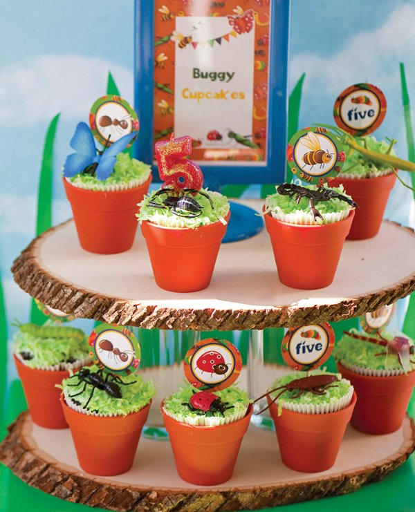 bug party potted plant cupcakes topped with coconut grass