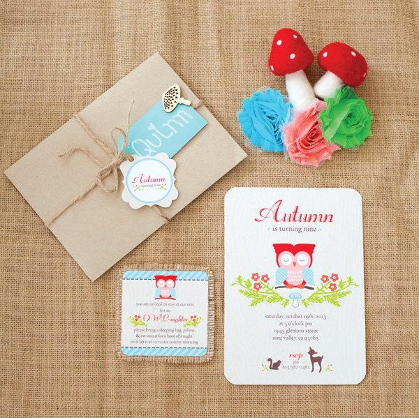 Fall inspired owl woodland birthday party invitations with burlap envelope