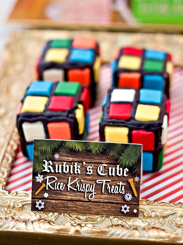 rubik's cube rice krispie treats