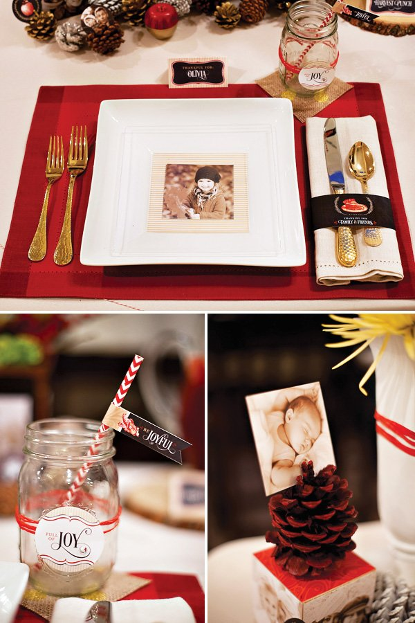 rustic christmas or holiday table ideas using mason jars, pine cones and red place mats
