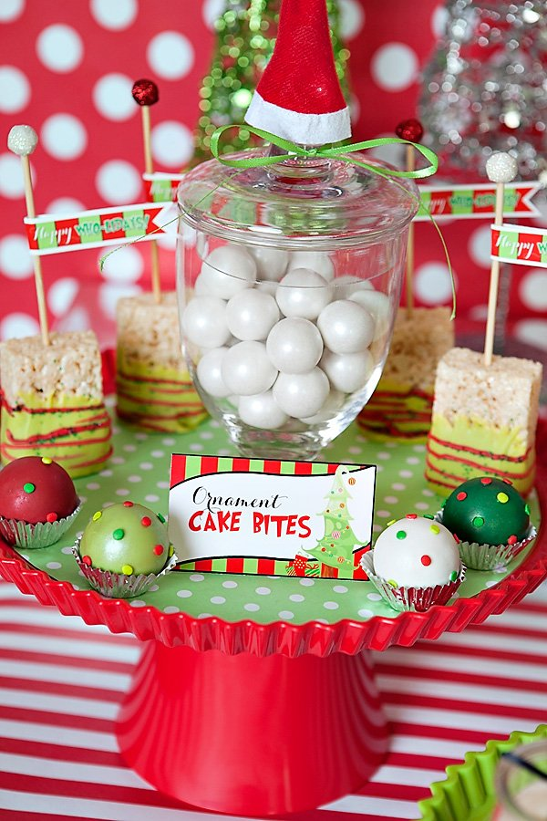 red and green christmas cake bites for a holiday party