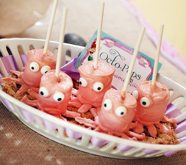 under the sear pink marshmallow octopus pops