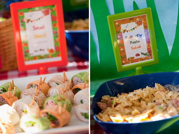 bug party butterfly pasta salad and snail wraps