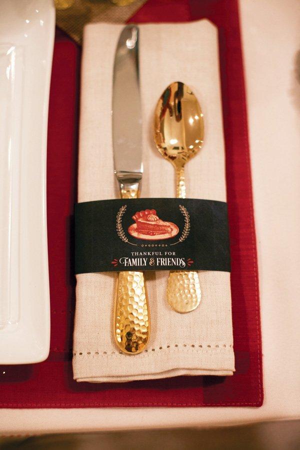 golden utensils and printable napkin rings