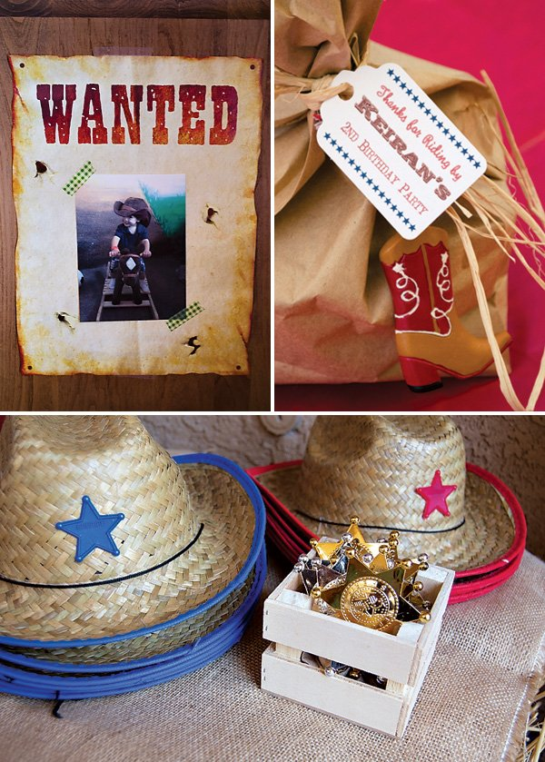 wanted sign invitation and cowboy hat and badge party favors