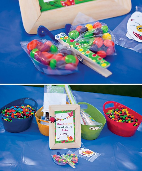 make your own butterfly snacks station with candy, plastic bags and clothespins