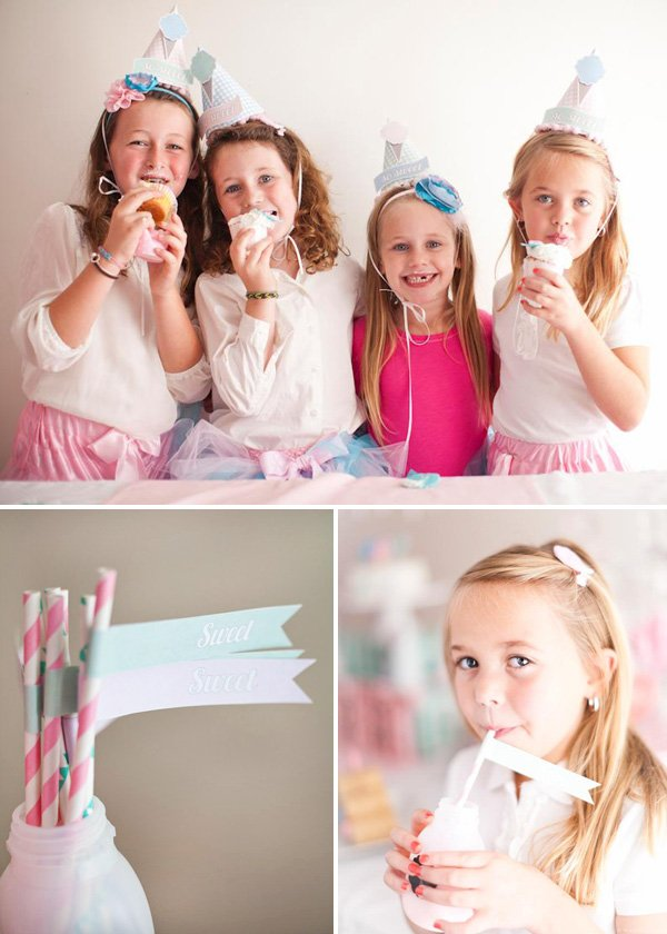 guests eating cupcakes and drinking pink strawberry milk at a girl's cotton candy shoppe birthday party