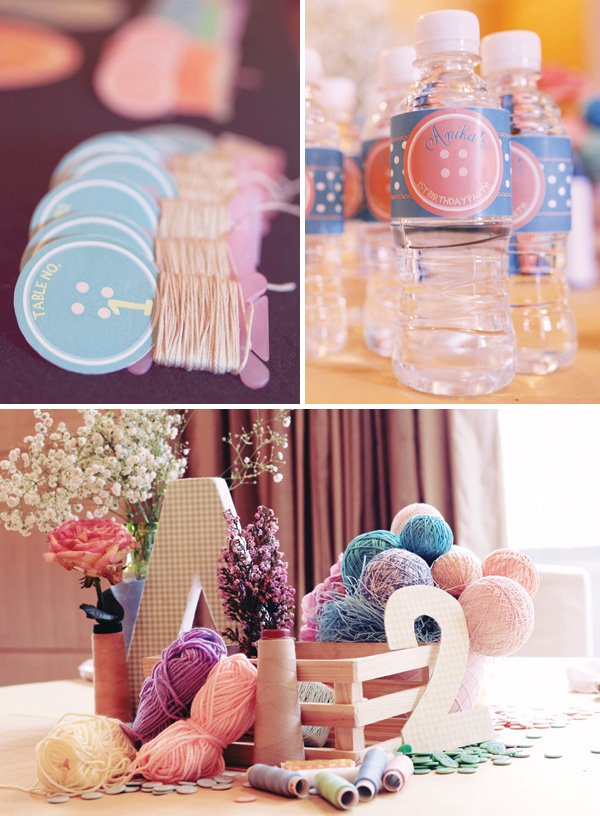 cute as a button centerpiece and water bottle wraps