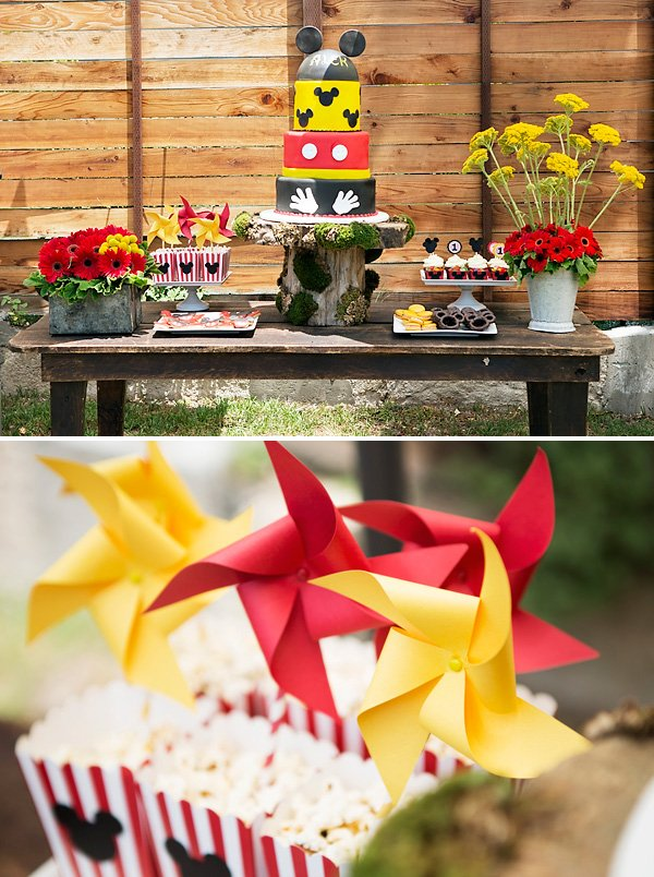 rustic mickey mouse birthday dessert table