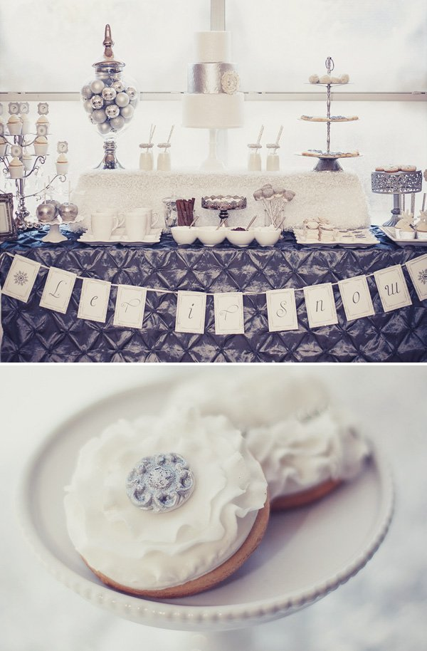 silver and white wonderland dessert table