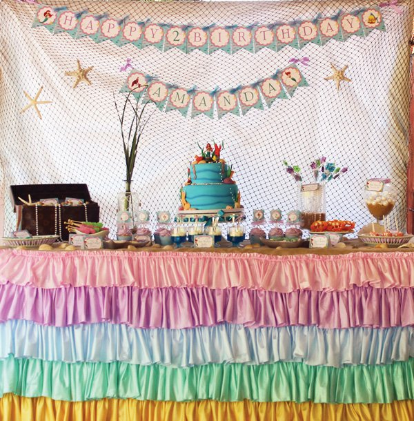 the little mermaid under the sea party dessert table