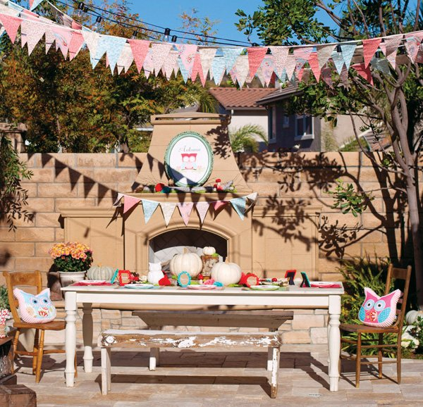 outside venue for an owl woodland themed birthday party