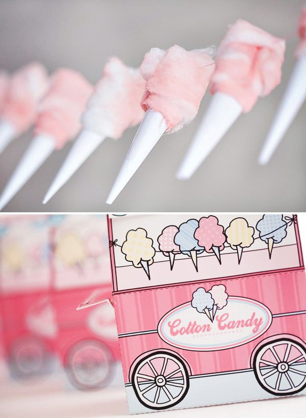 DIY cotton candy garland and printable party favor boxes