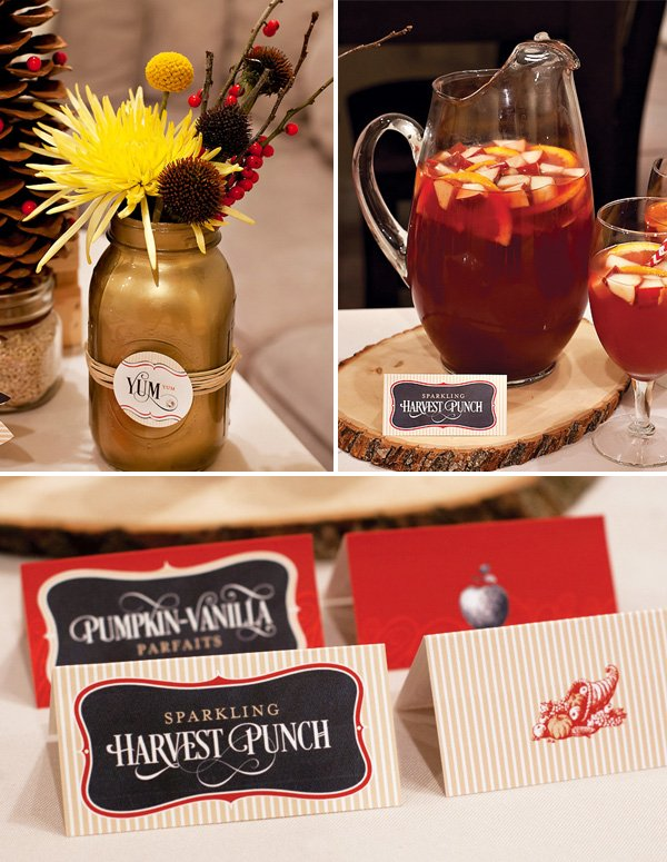 harvest punch and rustic decor for a joyful holiday party thrown by hwtm