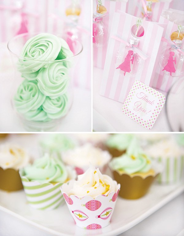 Mint and Pink sugar plum fairy desserts like meringues and cupcakes with pink party favor bags and ornaments