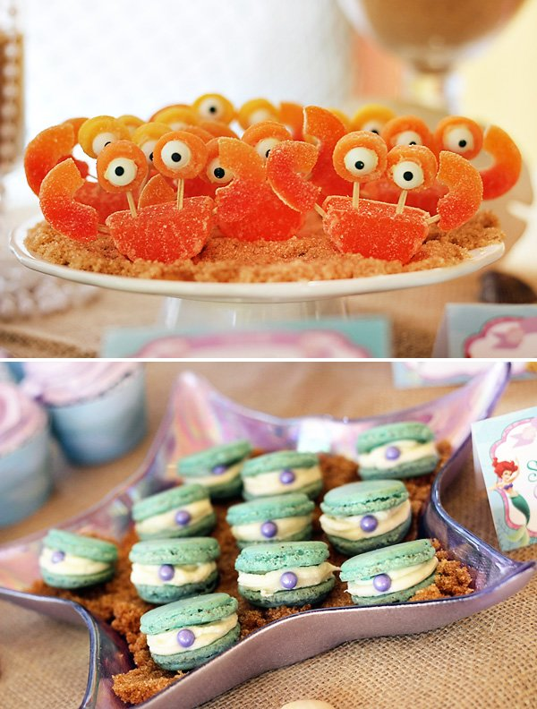 Orange Gummy Crabs And Clam Macaron Cookies For An Under The Sea Party