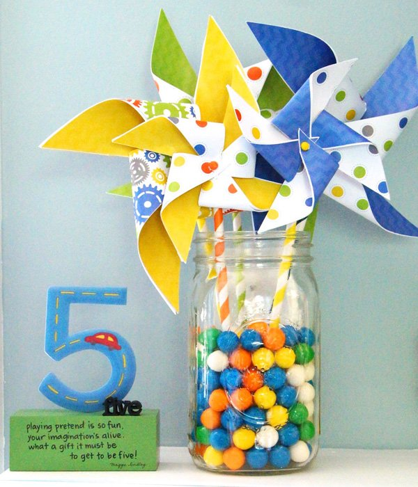 boys birthday party pinwheels