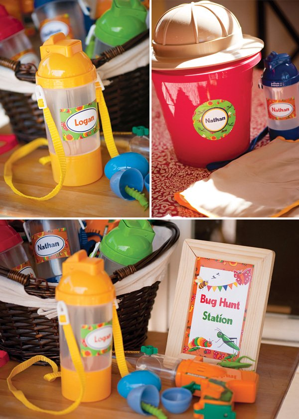 bug party personalized helmets, buckets and water bottles