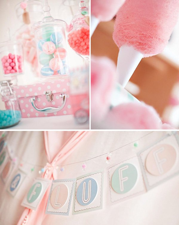 pink, blue and mint cotton candy themed birthday party decorations