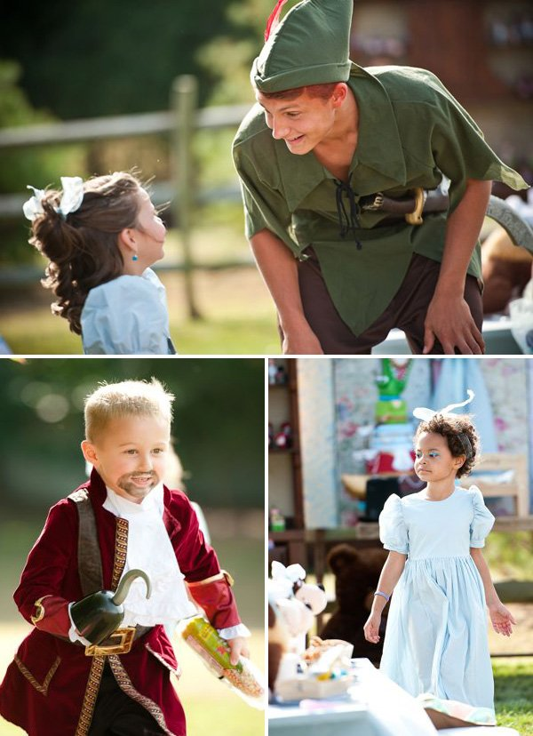 real peter pan character with kids in costumes for neverland birthday party