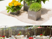 rustic red and yellow floral centerpieces