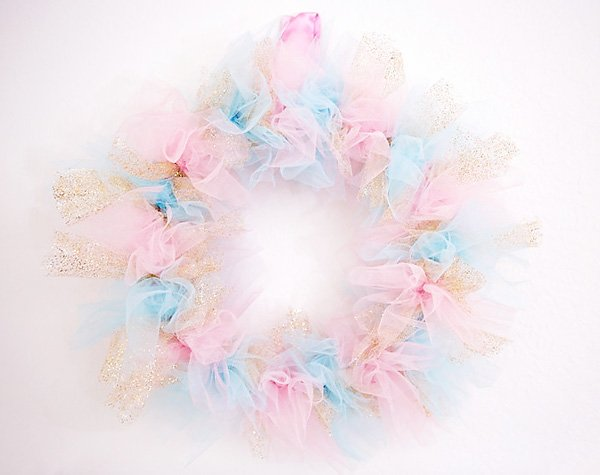 Pink and blue rag tie tulle wreath for a sugar plum fairy party