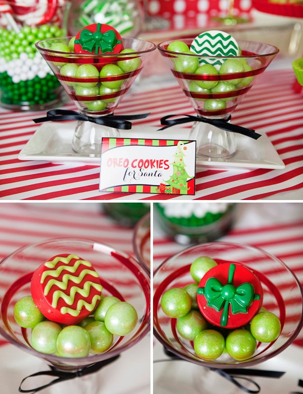red and green christmas oreo cookies for santa in martini glasses with gumballs