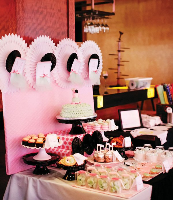 pink ruffle dessert table with fans and flamingo cake topper
