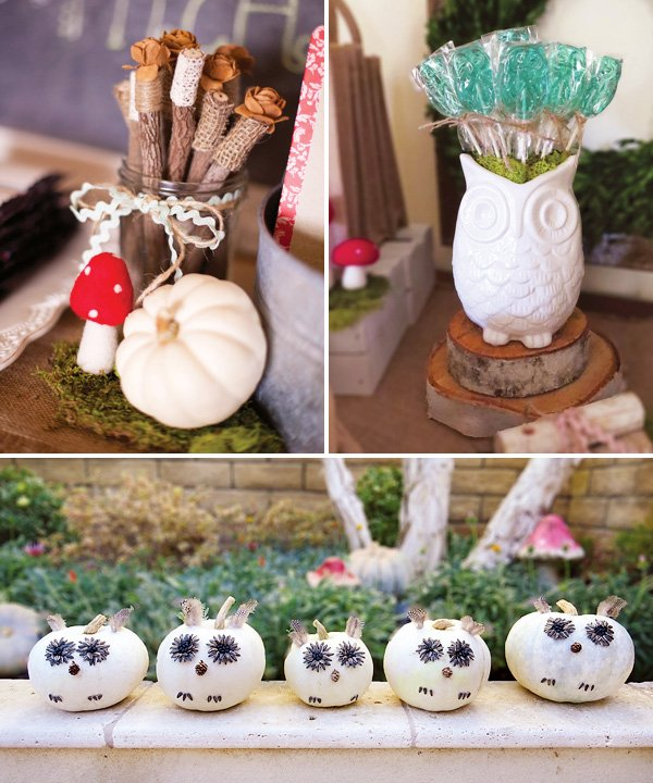 DIY white pumpkin owls and bundles of sticks