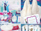 disney frozen party with printables and candy dessert buffet