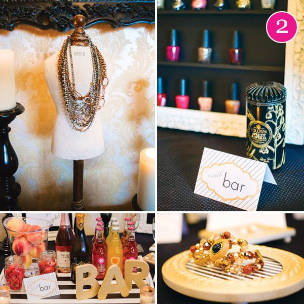 sparkling jewelry party with fruit and bubble bar and nail painting station