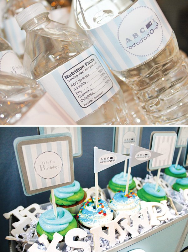 alphabet birthday water bottles and cupcakes